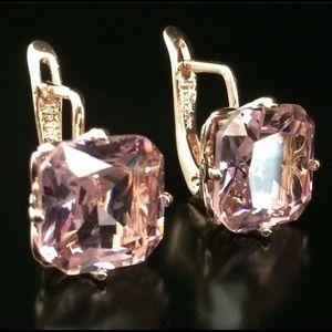 NEW Pink Sapphire CZ Rose gold earrings RJ Fallon